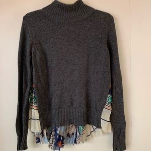 Anthropologie mock neck sweater with embellishment
